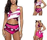 Charm4you Vintage Stampati Halter Due Pezzi,2020 Nuovo Costume da Bagno Bikini con Spacco Incrociato-Rose Red_3XL,Tie Dye Estate Spiaggia Swimwear