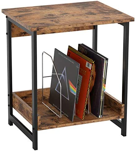 IRONCK Industrial Small End Table Night Stand Side Table with 2 Tier Storage Shelf Sturdy and product image