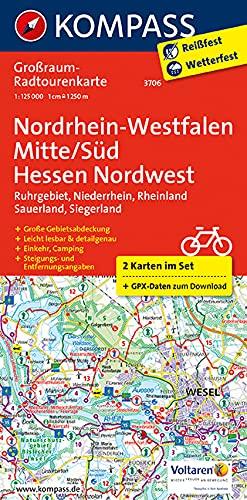 Nordrhein-Westfalen Mitte/Süd, Hessen Nordwest: Großraum-Radtourenkarte 1:125000, GPX-Daten zum Download (KOMPASS-Großraum-Radtourenkarte, Band 3706)