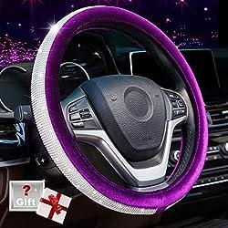 Crystal Diamond Purple Steering Wheel Cover Universal 15 inch