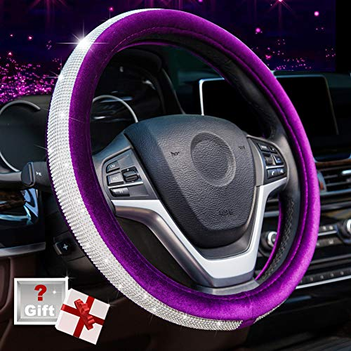 Alusbell Crystal Diamond Steering Wheel Cover Soft Velvet Feel Bling Steering Wheel Cover for Women Universal 15 inch Plush Wheel Cover for Escape Fusion Focus Accord Prius Rav4 Purple