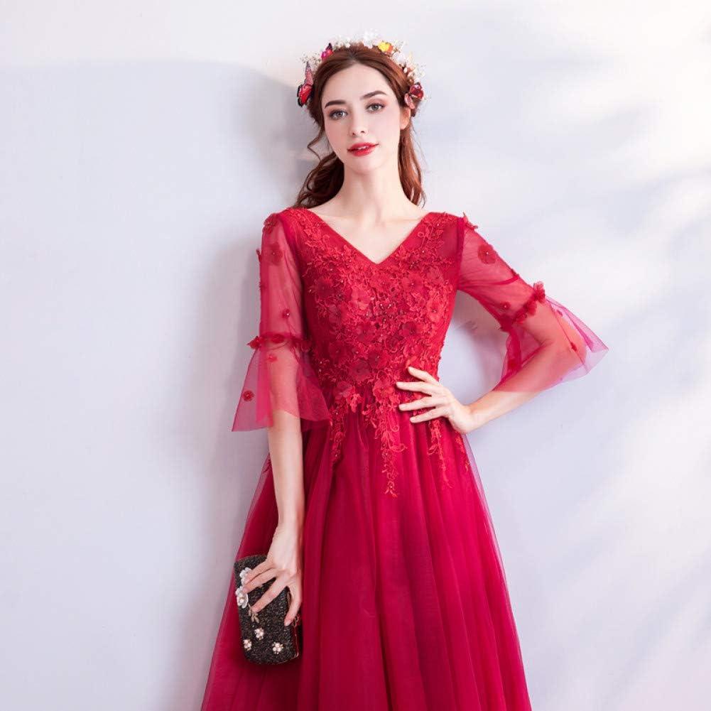 BINGQZ Robe de soirée Femme, Robe de Plage d'été, Robe de mariée Robe de mariée Rouge S