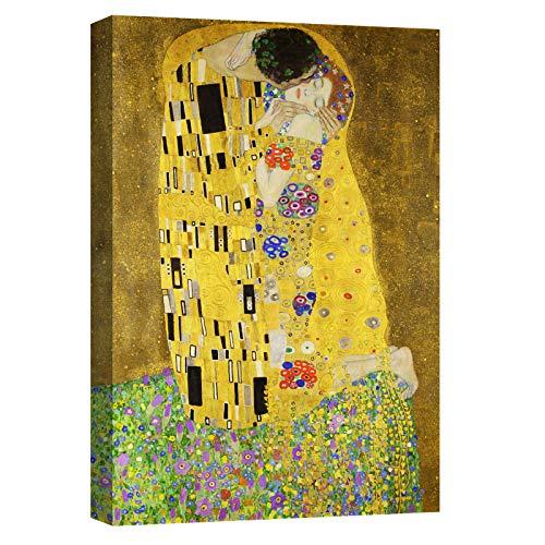 Canvashop Quadri moderni cm 70x50 Il Bacio di Klimt Stampa su tela Quadro verticale arte soggiorno
