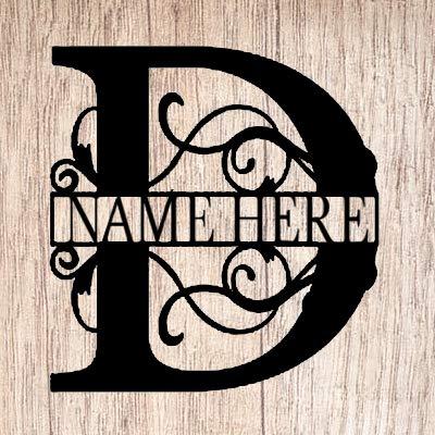 AJD Designs Personalized Last Name D Door Hanger - 20' Metal Monogram Door Hanger- Metal Last Name...