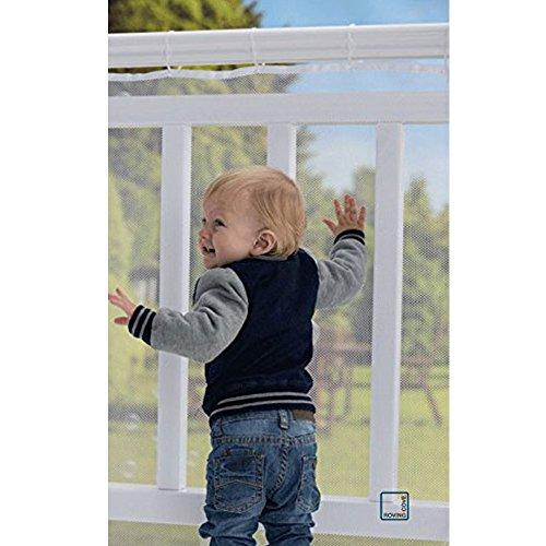 Balcón extraíbley red de seguridad de la escalera, red segura del acoplamiento del carril de Richoose, niños/juguete/seguridad del animal doméstico - 9.8ft L x 2.5ft H