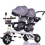 ZJJ Sillas de Paseo Cochecito de bebé, Cochecito de bebé, Carro de Viaje Triciclo Doble for niños Carro de bebé Gemelo Cochecito Grande Toldo extendido Carritos y sillas de Paseo (Color : F)