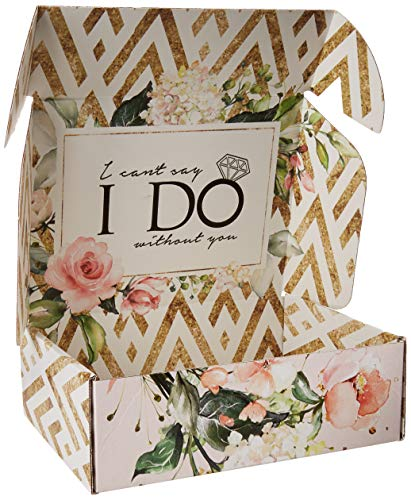 Bridesmaid Proposal Box Empty | Gold and Floral Design |'I Can't Say 'I Do' Without You' Message Inside | Maid of Honor Proposal Box (1 Box (Empty))