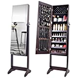 OUTDOOR DOIT Jewelry Organizer Jewelry Cabinet Jewelry armoire Standing Jewelry Box with Full Body Mirror and Large Storage Lockable Wooden Cabinet (Brown)