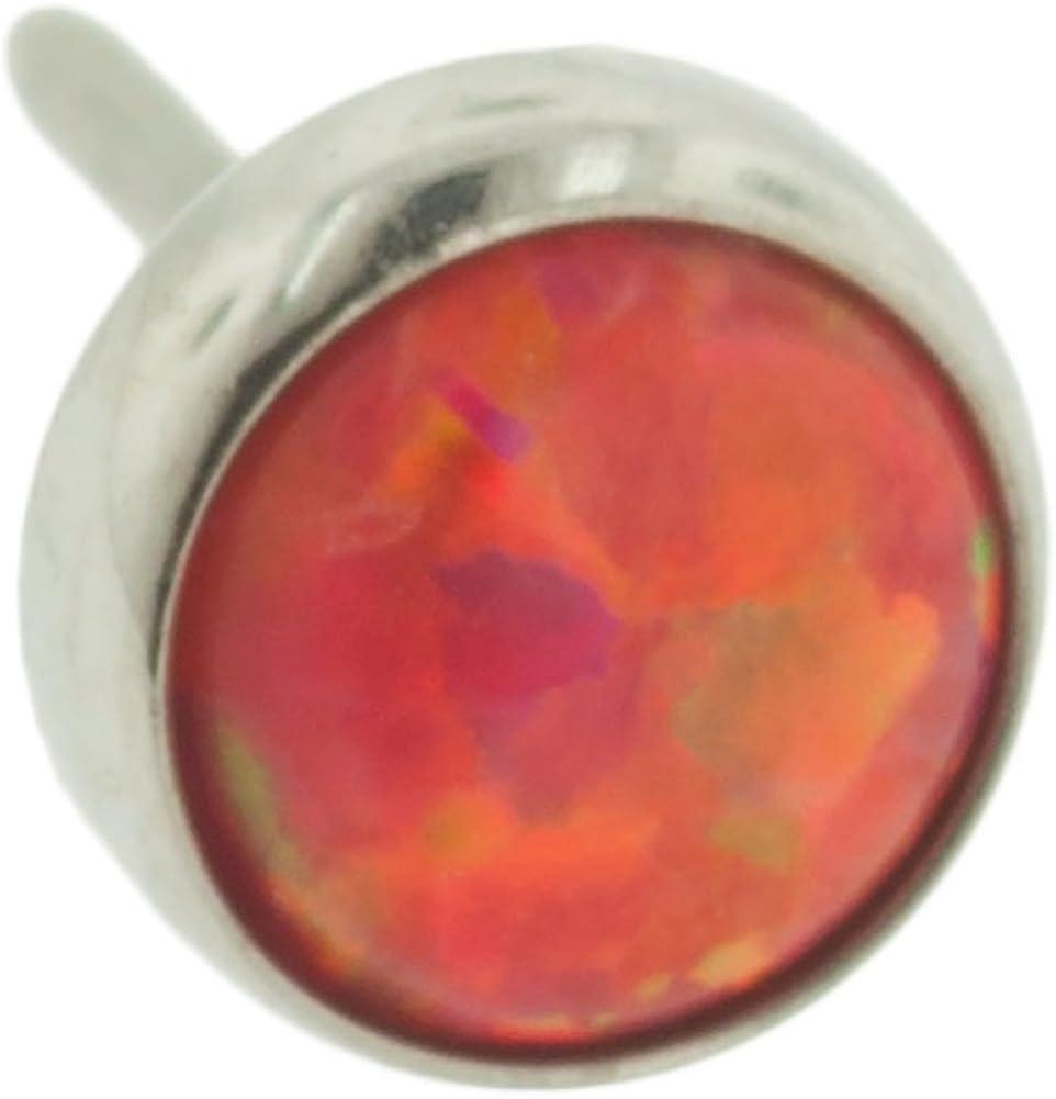 Steel Navel Body Jewelry Threadless Titanium Synthetic Opal Cabochon End: 18g High Polish, Gem: 2mm, Fire Opal Gem