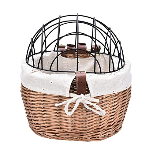 DIYHM Cat Dog Bicycle Front Handlebars Basket Pets Seat Handwoven Wicker MTB Road Bike Basket Pet Cat Dog Carrier Cycling Accessories Bike Basket, Small Pets Cat Dog Folding Carrier