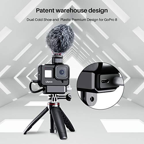 ULANZI G8-9 Cage vidéo pour GoPro 8 Montage sur chaussure froide Vlog Coque de protection avec adaptateur audio, adaptateur de filtre 52 mm, capuchon d'objectif/interface de charge pour GoPro Hero 8