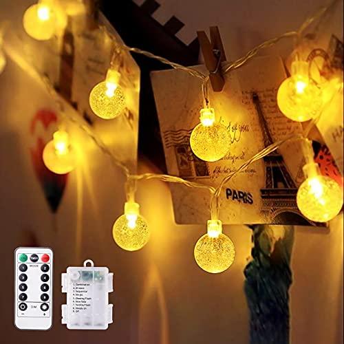 LED Lichterkette Kugeln, TOPYIYI 10M Lichterkette Batterie mit 80 LED 8 Modi Fernbedienung Timer Wasserdichte Lichterketten für Zimmer, Außen, Innen Weihnachten, Party, Hochzeit(Warmweiß)
