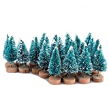 Belupai - Juego de 24 mini árboles de pino azul con base de madera para botella de árboles, plástico para invierno, nieve, decoración de escritorio