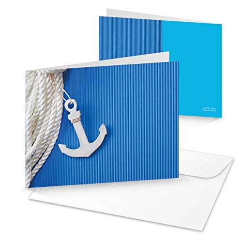 3 Stück blau-weiße maritime SCHIFFS-ANKER Grußkarte Glückwunsch-Karte Geburtstagskarte MIT KUVERT Einladungskarte Geburtstag Segler Kreuzfahrt Reise-Gutschein