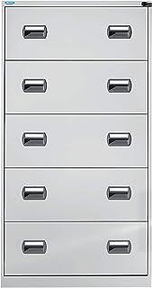 office akktiv Classeur pour dossiers suspendus - 2 rangées, 5 tiroirs - corps gris clair - tiroirs gris clair - caisson po...