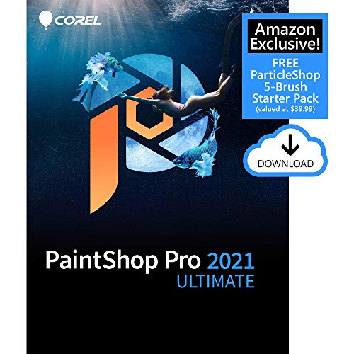 Corel PaintShop Pro 2021 Ultimate | Photo Editing & Graphic Design Software PLUS Creative Collection | Amazon Exclusive 5-Brush Starter Pack [PC Download]