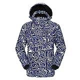 DNJKH Chaqueta Impermeable para Hombre A Prueba de Viento Chaqueta de Nieve Ski Rain Al Aire Libre Ski Ice Skating Sudadera con Capucha Abrigo cálido,Azul,L