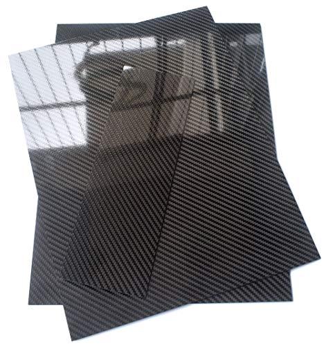 Carbon Fiber Sheet 1.0mmx200mmx300mm Plate Panel 3K Twill Glossy Surface Mirror Like