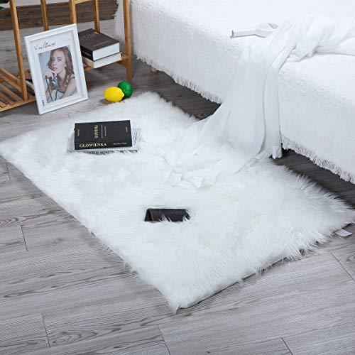 HEQUN Non-Slip Oveja de Piel sintética Felpudo Alfombra Antideslizante Lujosa Suave Lana Artificial Alfombra para salón Dormitorio baño sofá Silla cojín (Blanco, 180 X 80 CM)