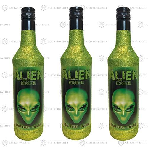 Glitzer Alien Shot 700ml (13% Vol) - Bling Glitzerflasche Gekko Grün