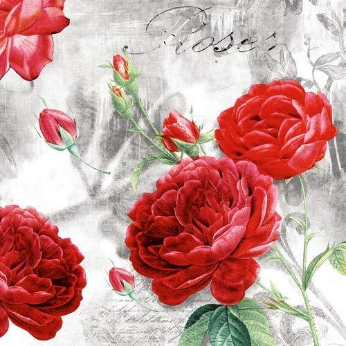 20 Servietten Vintage Rosengarten/Rosen/Blumen 33x33cm