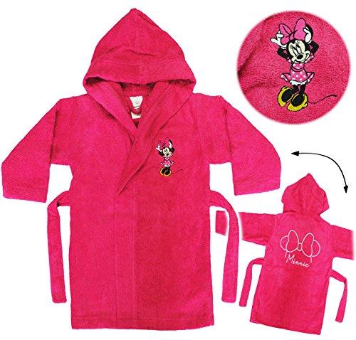 alles-meine.de GmbH Frottee Bademantel -  Disney Minnie Mouse  - 5 bis 8 Jahre / Gr. 116 - 140 - 100 % Baumwolle - mit Kapuze - für Kinder / Mädchen - Mäuse / Playhouse - pink ..