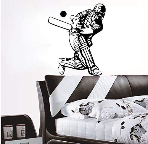 Cricket Zubehör Sport Abnehmbare Vinyl Wandaufkleber Spieler Wohnzimmer Dekoration 44Cm X 55Cm