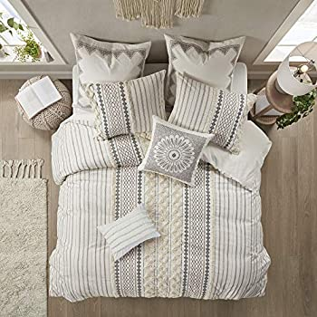 INK+IVY 100% Cotton Comforter Mid Century Modern Design All Season Bedding Set Matching Shams Full/Queen 88 x92   Imani Ivory Chenille Tufted Accent 3 Piece