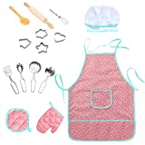 Twister.CK Childrens Chef Outfit Set, Impermeable para niños Delantales Kitchen Cooking rol Juego de imaginación, Dress up Costume Play Set para Toddler - 15 Piezas