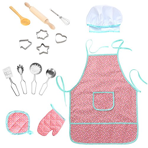 Twister.CK Childrens Chef Outfit Set, Impermeabile Grembiuli per Bambini Cucina Cooking Role Pretend Play, Dress up Costume Play Set for Toddler - 15 Pezzi