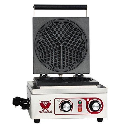 Beeketal 'BWA-1P' Gastro Profi Waffeleisen mit antihaftbeschichteten Backplatten, Waffelautomat für belgische Herzen Waffeln mit Edelstahl Gehäuse, 50-300 °C stufenlos