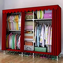 XDDDX Large Cloth Wardrobe Clothing Hanging Storage Cabinet Fabric Closet Steel Pipe Metal Reinforcement Cabinet (Color : B)