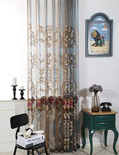 Lactraum Vorhänge Wohnzimmer Transparent mit Ösen Bestickte Pfingstrose Blumen Voile 200 x 245cm