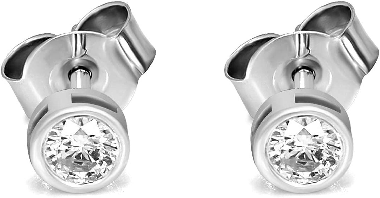 IGI Certified Natural Diamond Earrings 14K White Gold 1/3 carat - 3/4 Carat 100% Real Diamond Bezel Stud Earring For Women