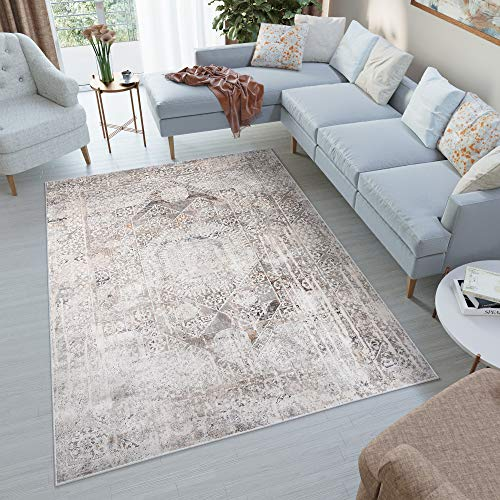 TAPISO FEYRUZ Teppich Kurzflor Hellgrau Modern Ornament Orientalisch Floral Design Vintage Verwischt Wohnzimmer Schlafzimmer ÖKOTEX 160 x 230 cm