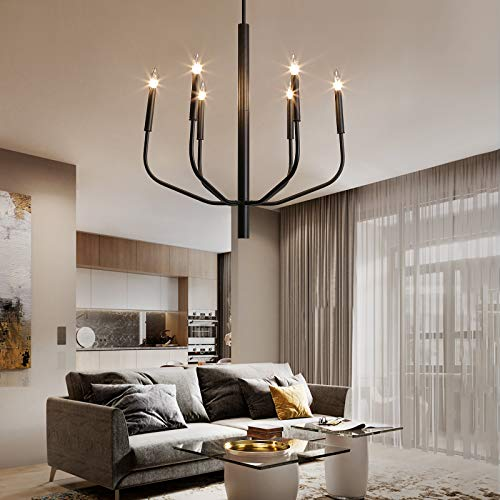 NEWSEE Black Chandelier 6-Light Farmhouse Light Fixture Rustic Industrial Iron Sputnik Lighting