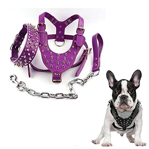 Arnés de perro con pinchos para perros pequeños, arnés de perro con pinchos pequeños, arnés de púas para perros grandes, arnés de perro para razas medianas y grandes, color morado, talla L