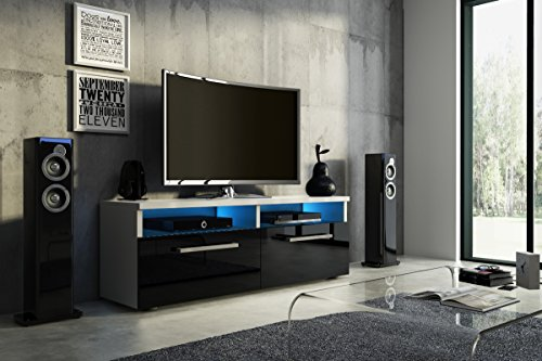Porta TV Silver (bianco opaco / lucido nero con LED)