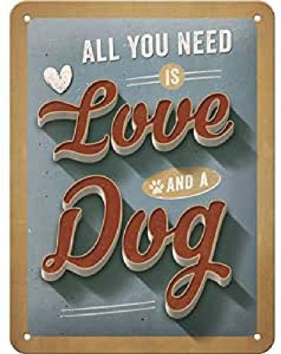 Nostalgic-Art Retro Blechschild PfotenSchild – Love Dog – Geschenk-Idee für Hunde-Besitzer, aus Metall, Vintage-Design zur Dekoration, 15 x 20 cm