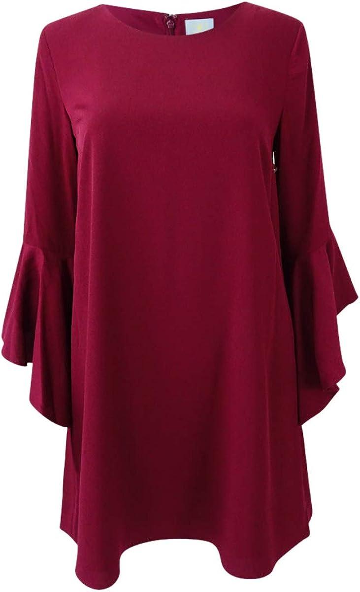 CeCe Women's Ruffled Bell-Sleeve Dress (2, Berry Muse) Red