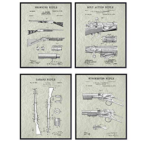 Antique Rifles Patent Art Prints - Vintage Wall Art Poster Set - Chic Home Decor for Den, Man Cave, Office - Great Gift for Men, Gun, Shotgun, Firearms, Second Amendment, NRA - 8x10 Photo - Unframed
