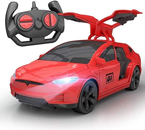 AIOJY Tesla Elektro-Spielzeug-Auto-Kinder drahtlose Fernbedienung Racing Drift Open Door Sports Fahrzeugmodell RC Kinder Elektro-Auto Wiederaufladbare 2.4G Drift Open Door-Spielwaren for Kind-Mädchen-