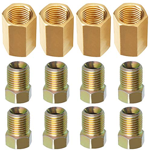 Brake Line Fittings and Unions for 3/16 Tube (8 Nuts,4 Unions) All 12 pcs, 3/8-24 Threads