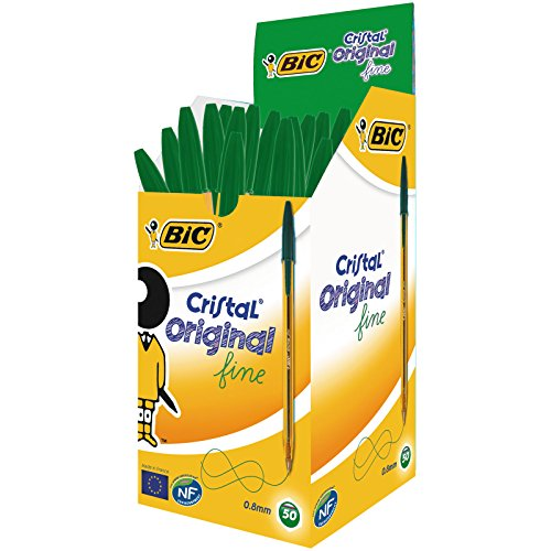 BIC Original Crystal Fine Fine Point Pens (0,8 mm) - Green, Box of 50 Units
