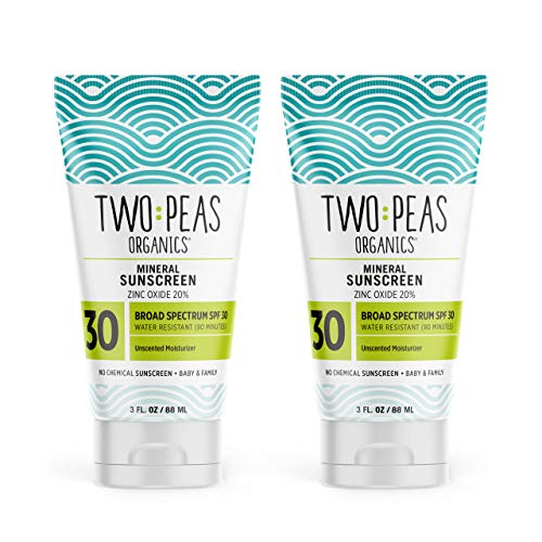 Two Peas Organics - All Natural Organic Sunscreen Lotion - Coral Reef Safe - Baby, Kid & Family Friendly - Chemical Free Mineral Based Formula - Waterproof & Unscented - SPF 30-3oz - 2 Pack