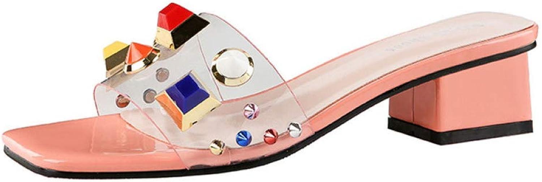AERICKON Rhinestone Decor Upper Heeled Sandal for Women Square Heel Releasing Pain Durable Peep Toe Slides