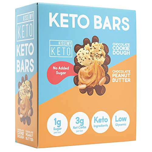 Kiss My Keto Chocolate Peanut Butter Keto Bars No Added Sugar 12Count Net Wt 21.16 Oz