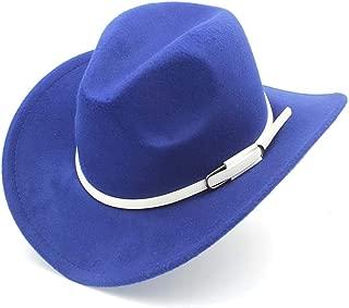 SHENTIANWEI Men Women Western Cowboy Hat with White Leather Belt Pop Wide Brim Jazz Hat Sombrero Hat Adult Church Hat Size 56-58CM