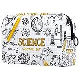 Science Education Doodle Set de bolsas de maquillaje portátiles con estampado de astronomía, bolsa de cosméticos, bolsa de viaje para mujeres
