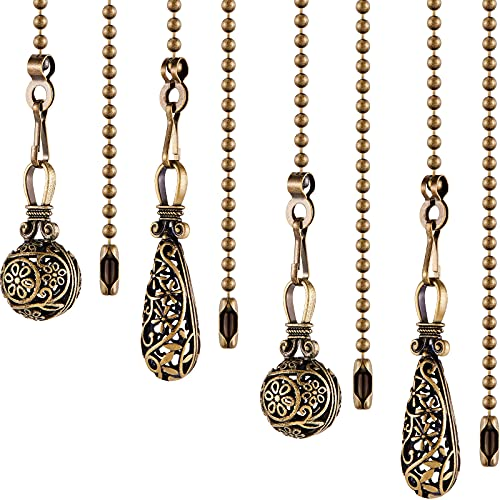 4 Pieces Vintag Hollow Ceiling Fan Pull Chain Fan Danglers Pull Chain Extension 13 Inch Fan Pulls Chain Extender with Ball Chain Connector for Ceiling Fan Light Decoration